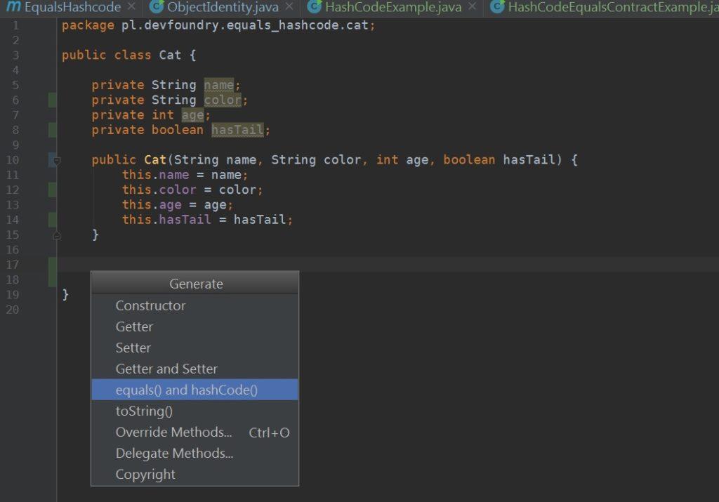 Intelli - dzięki skrótowi alt+insert możemy autogenerować metody equals i hashCode