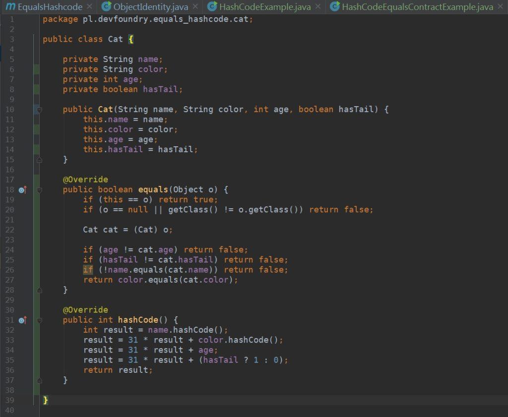 Intellij - metody equals i hashCode wygenerowane automatycznie